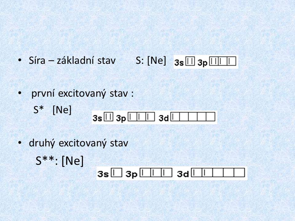 S**: [Ne] Síra – základní stav S: [Ne] první excitovaný stav : S* [Ne]